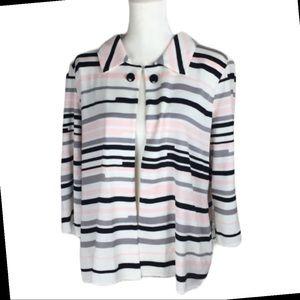 Ming Wang NWT Black, pink, white stripe blazer